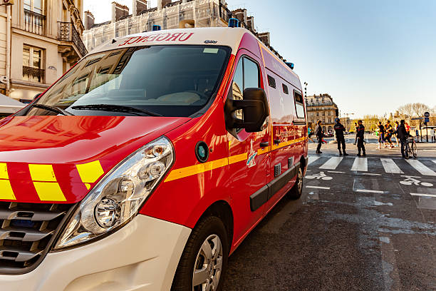 Firefighter truck in Paris stock photo