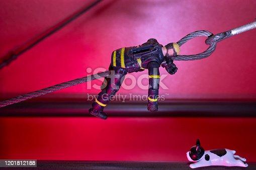 Steel Structure, Firefighter Figures, Dog Model, Red Color Background,