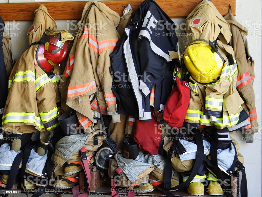 Firefighter turnout rack stock photo