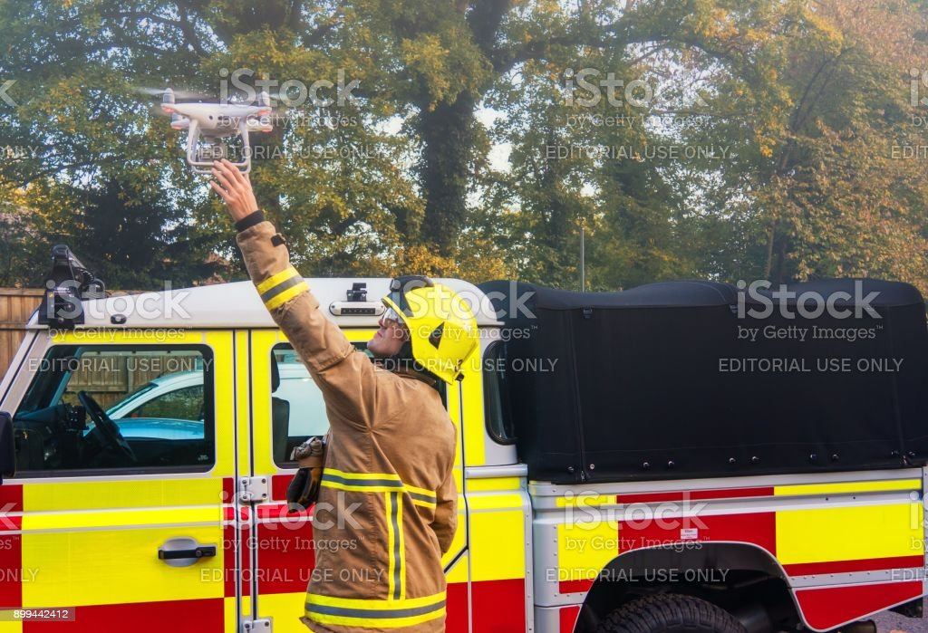Firefighter Using a Drone/UAV stock photo