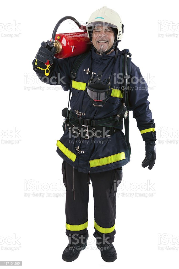 firefighter with extinguisher royalty-free stock photo