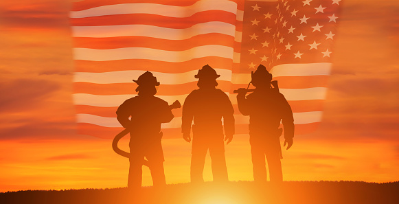 USA firefighter with nation flag. Greeting card for Firefighters Day , Patriot Day, Independence Day . America celebration.