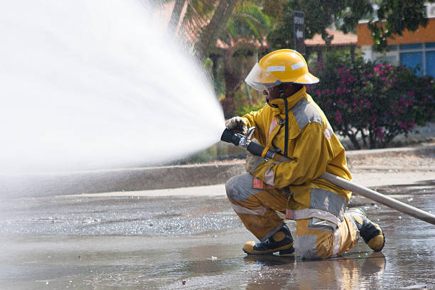 Firefighter Working stock photo