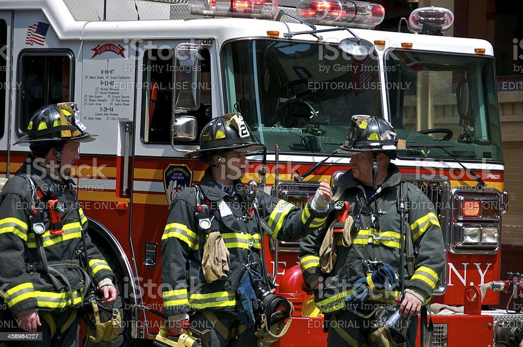 FDNY Firefighters at emergency call, SoHo, Manhattan, New York City stock photo