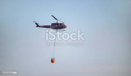 istock Firefighters bringing water from the ocean to a wildfire burning a forest of trees on a mountain. 1212721986