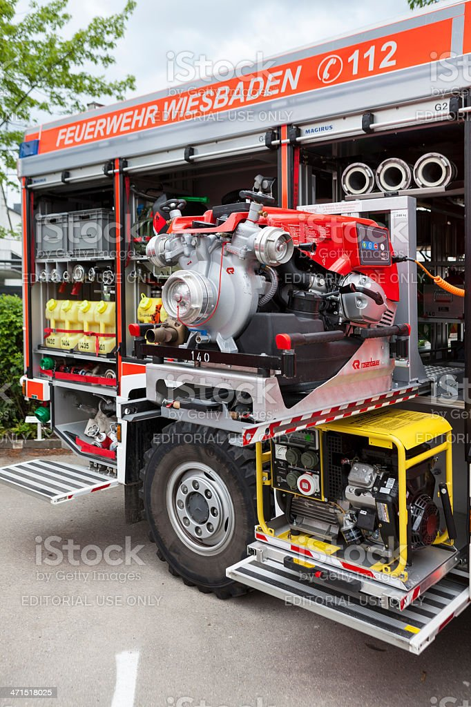Firefighters equipment, water pump and large fan royalty-free stock photo