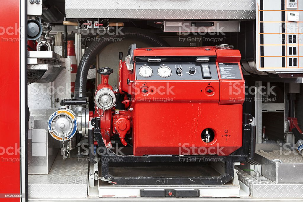 Firefighters equipment - water pump royalty-free stock photo