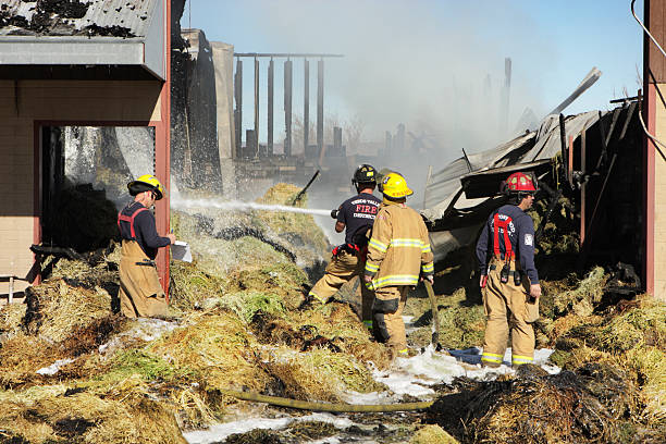 Firefighters Extinguish Arson Smoke Fire stock photo