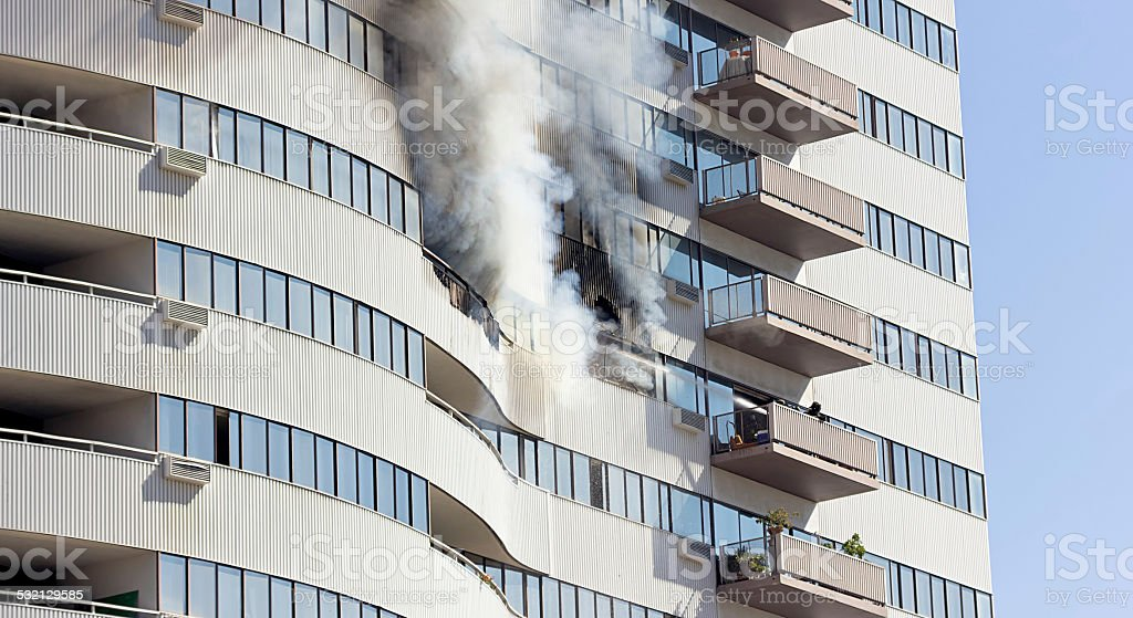 Firefighters Extinguish the Fire stock photo