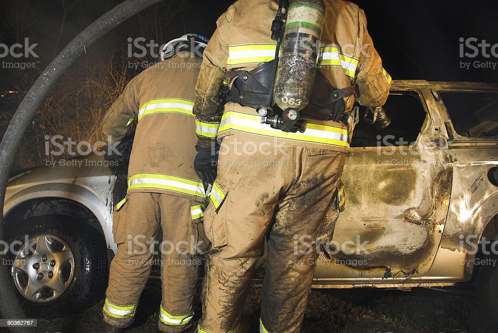 Firefighters fight Arson royalty-free stock photo
