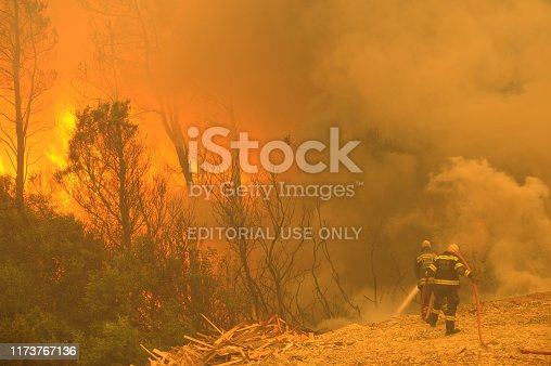 Somerset West, South Africa.  23 February, 2009.  Two firefighters spray water at a raging forest fire near Sir Lowry's Pass.