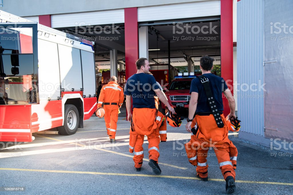 Firefighters in a rescue operation; all logos removed. Slovenia,...