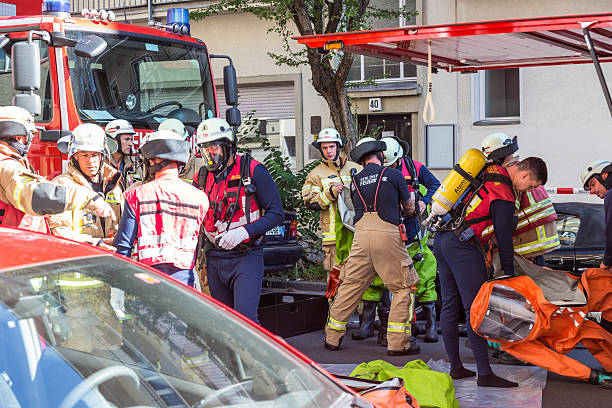 Firefighters getting ready to intervene on chemical accident location. - foto de stock
