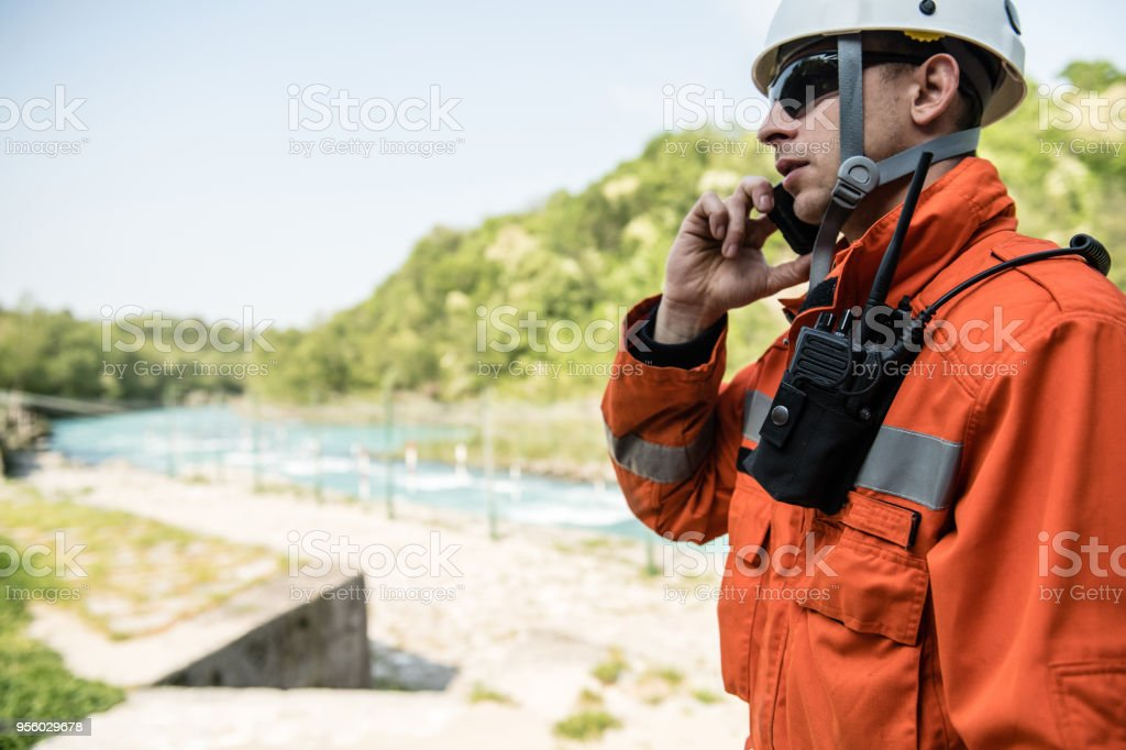 Firefighters in a rescue operation training stock photo