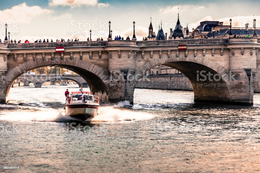 Firefighters on a boat - Royalty-free Ancient Stock Photo