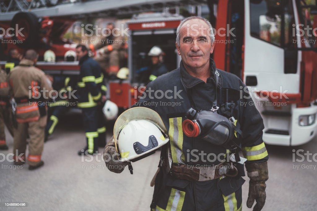 Firefighter's portrait stock photo