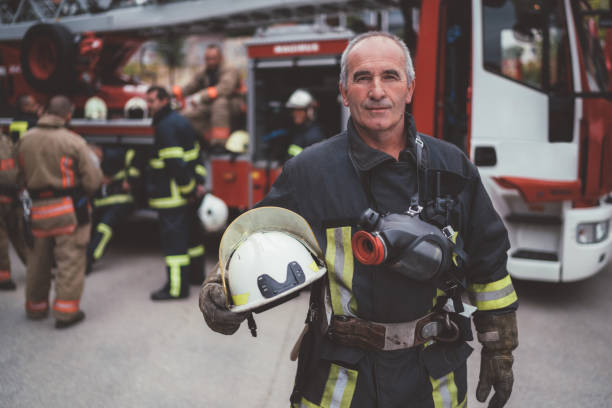 Firefighter's portrait stock photo