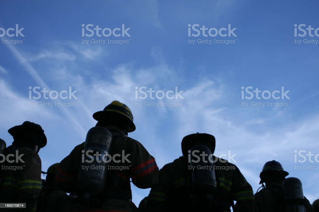 Firefighters Shadows stock photo