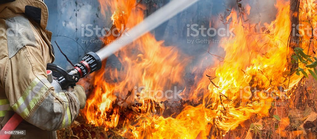 firefighters spray water to wildfire firefighters spray water to wildfire Accidents and Disasters Stock Photo
