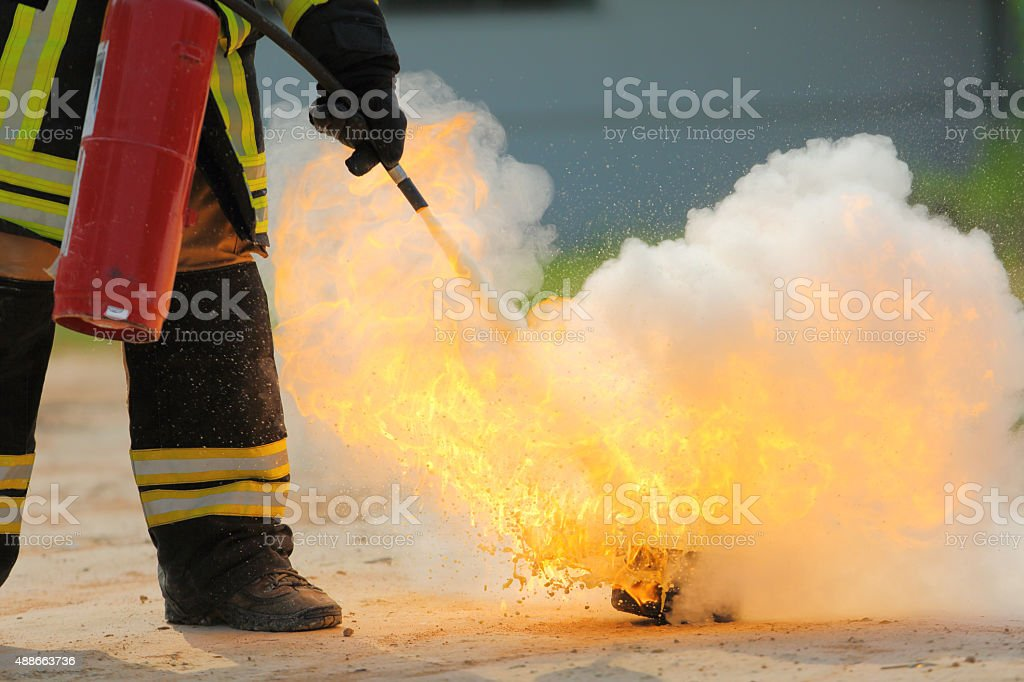Firefighters training exercise stock photo