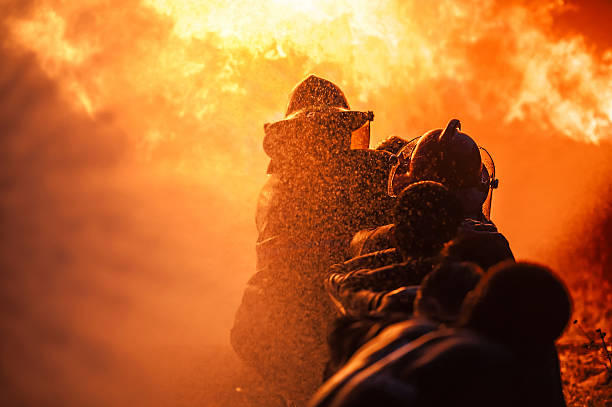 firefighters training - firefighter stock photos and pictures