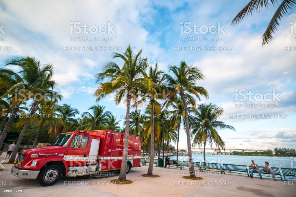 Firefighters truck parked in Miami downtown park, Florida, USA stock photo