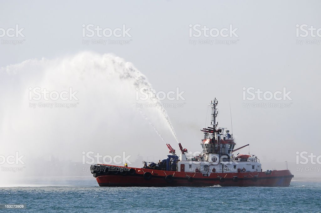 Fire-fighting boat stock photo