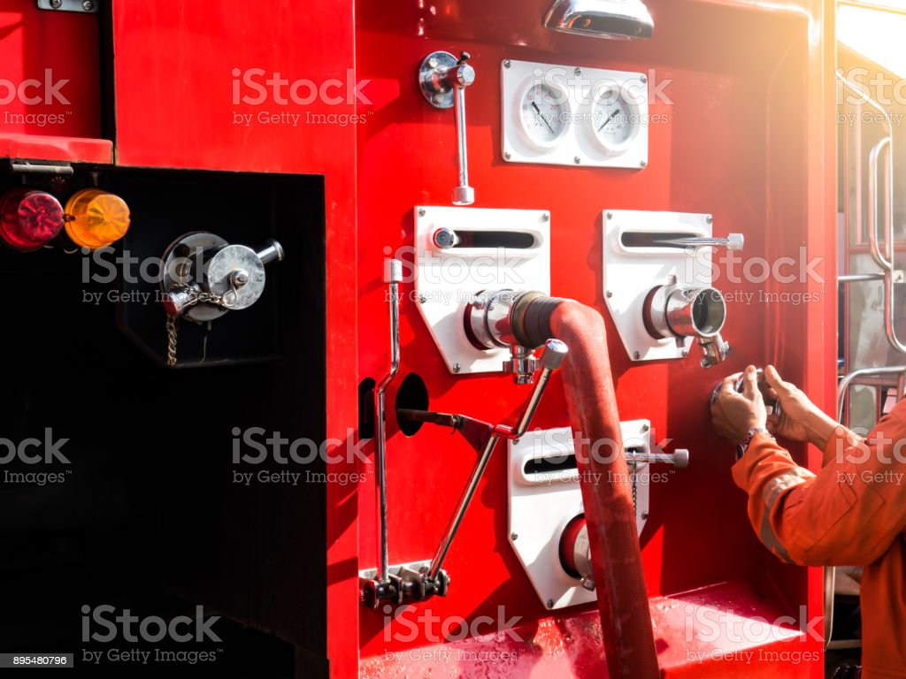 Firefighting control concept. Firefighting system on fire truck stock photo