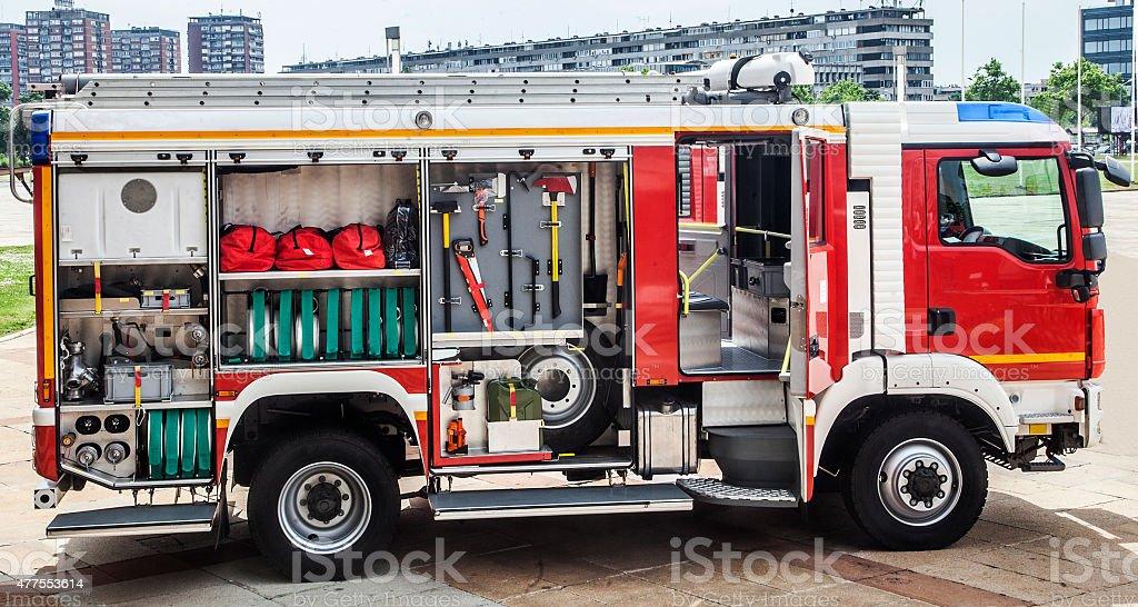 Firefighting Equipment in track stock photo