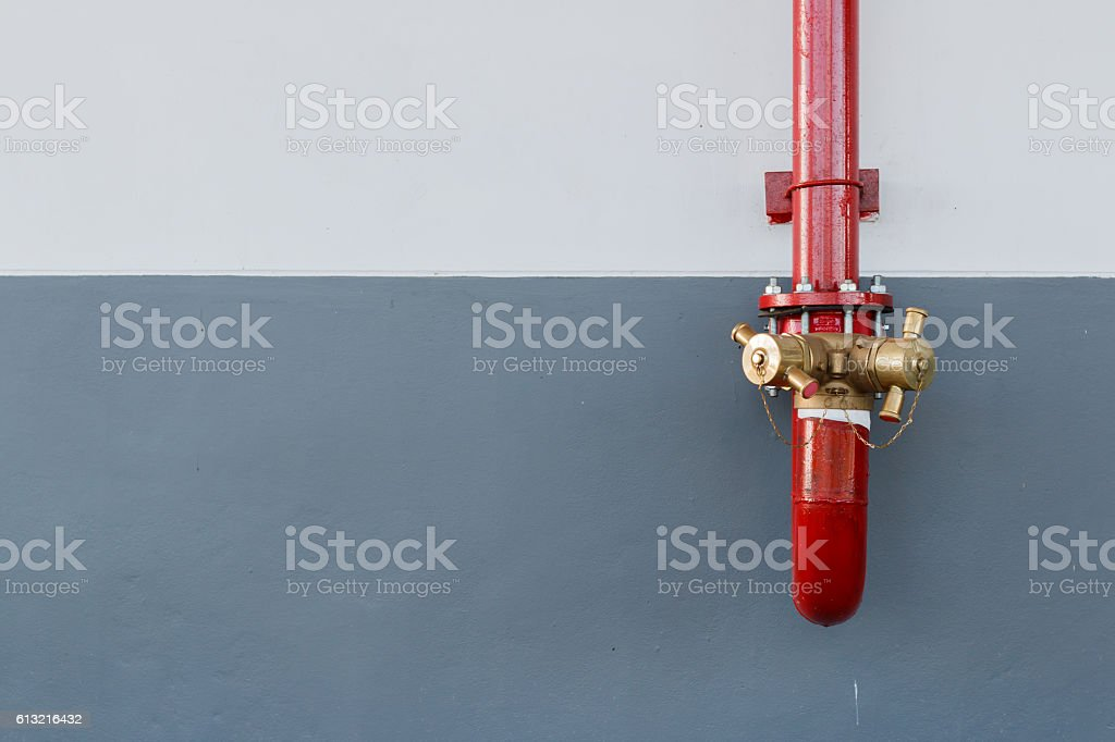 Firefighting equipment on red fire truck. Water hydrant with copyspace stock photo