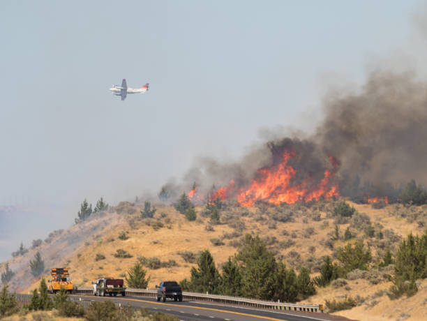 Firefighting Plane Over Emerson Wildfire stock photo