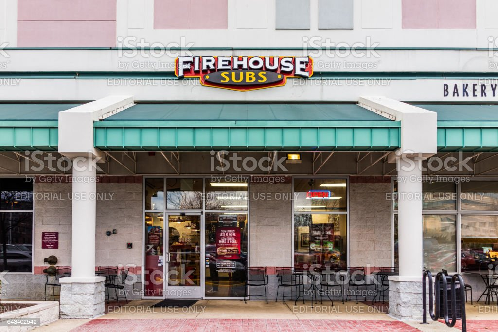 Firehouse subs restaurant facade stock photo