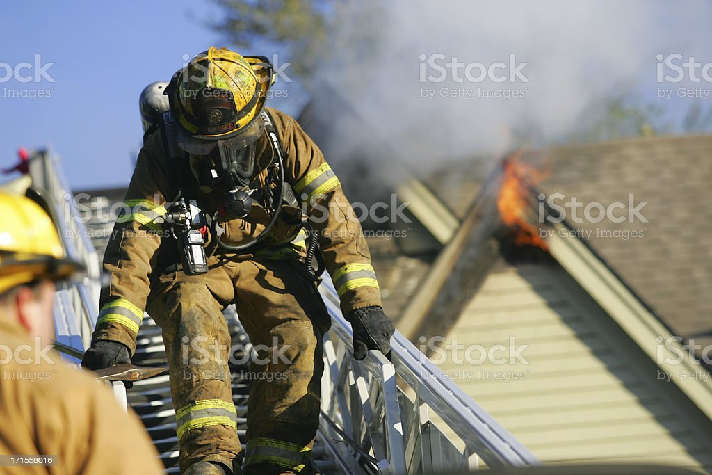 Fireman at a fire royalty-free stock photo