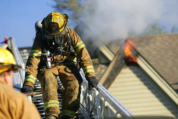 Fireman at a fire stock photo