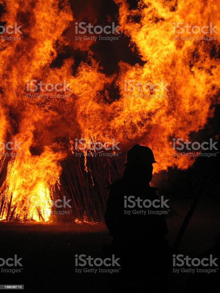 Fireman at Walpurgis Night royalty-free stock photo