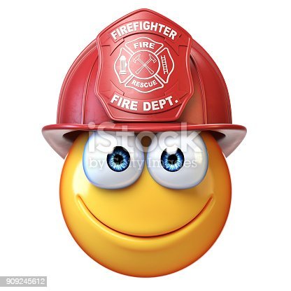 istock Fireman emoji isolated on white background, firefighter emoticon 3d rendering 909245612