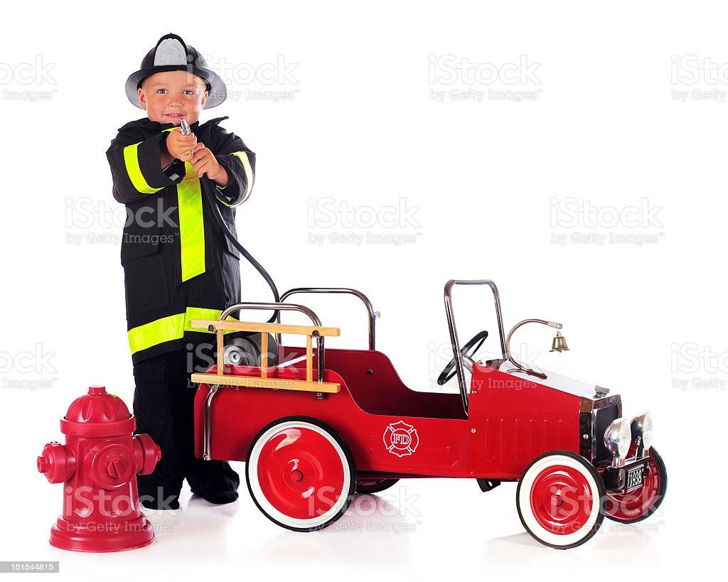 Fireman Hosing royalty-free stock photo