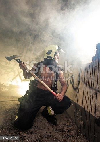 istock Fireman in action 174929158