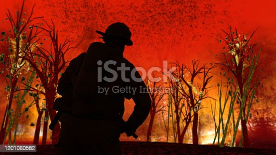1195174769istockphoto Fireman is abut to fight with flames in forest in Australia ready for action 3d rendering 1201060582