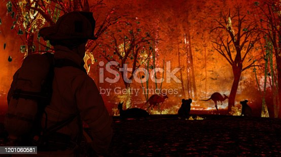 1195174769istockphoto Fireman is looking at aussie animals in wildfire. Kangaroos, koalas all need help from people 3d rendering 1201060581