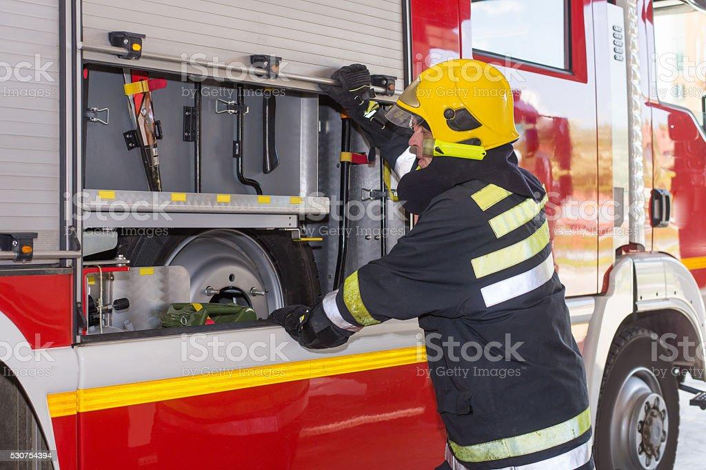 Fireman on duty stock photo