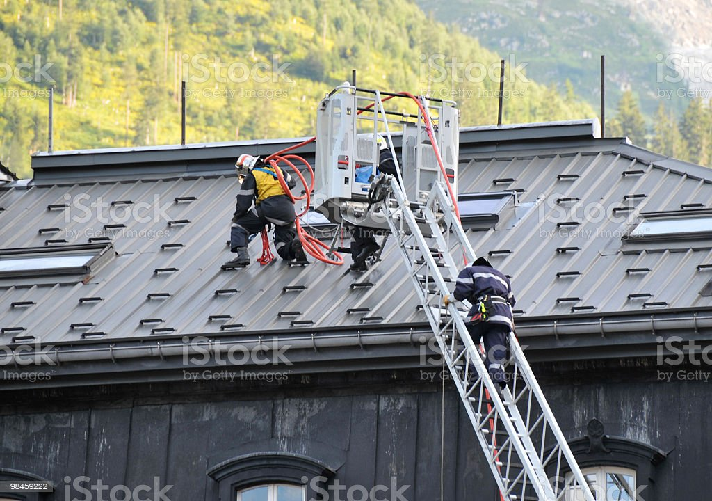 Fireman on Roof royalty-free stock photo