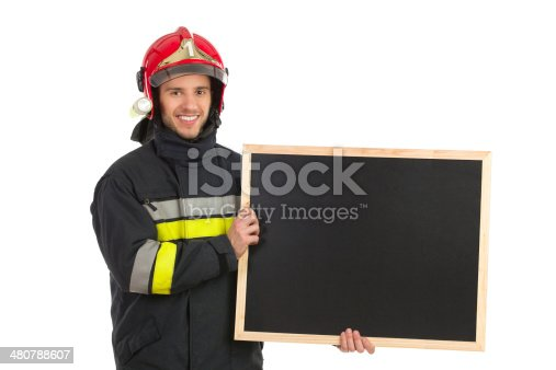 875677322istockphoto Fireman with black board. 480788607