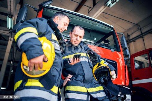 istock Fireman with radio set 963151882