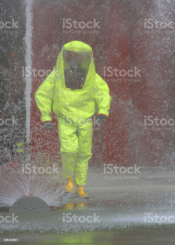 fireman with the yellow jumpsuit royalty-free stock photo