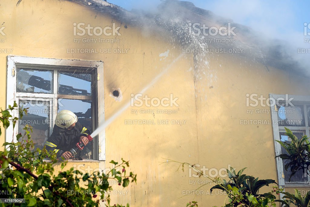 Fireman working royalty-free stock photo