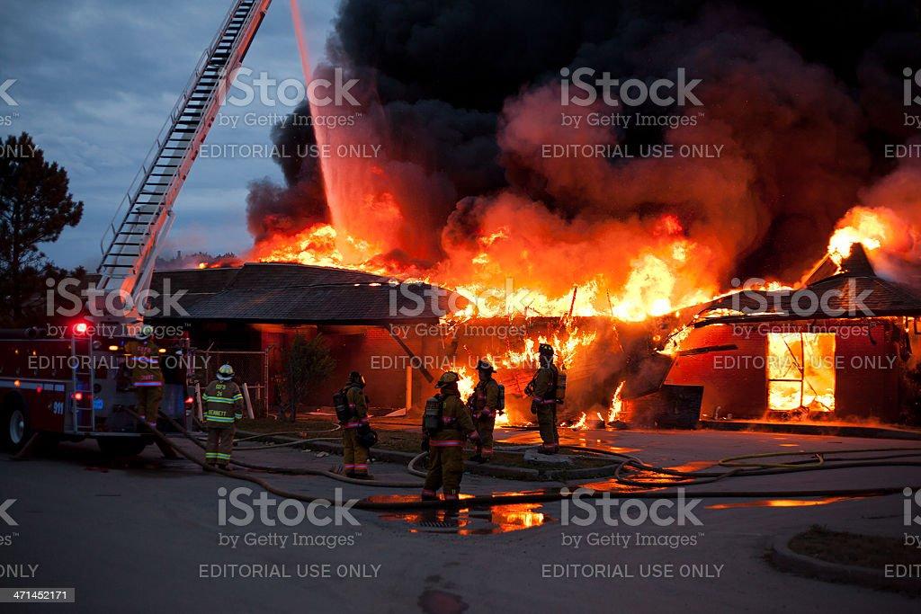 Firemen Battle Abandoned McDonald's Blaze royalty-free stock photo
