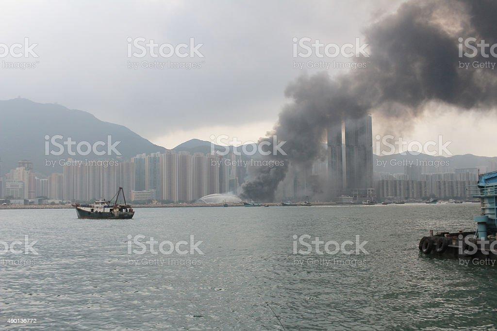 Firemen in fire, firefighting stock photo