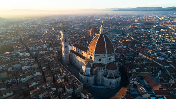 Firenze, ITA - Skyline Florence (Italy) - Skyline at Sunset - Aerial Cityscape florence italy stock pictures, royalty-free photos & images