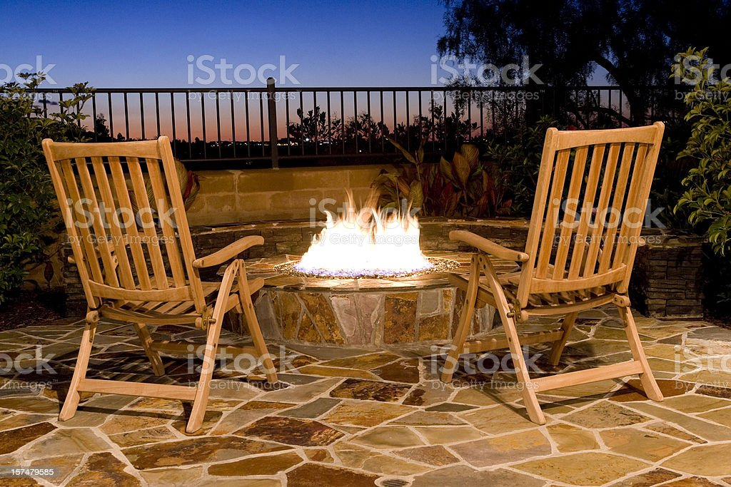Fire-Pit, Back Yard Outdoor, Seating, Fire, Sunset, View, Luxury royalty-free stock photo